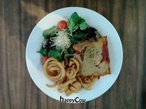 """Photo of CLOSED: Peace Pies  by <a href=""""/members/profile/vegan_simon"""">vegan_simon</a> <br/>lasagne with salad ($15) and curly fries on the side ($3.50) <br/> June 27, 2013  - <a href='/contact/abuse/image/35843/50251'>Report</a>"""