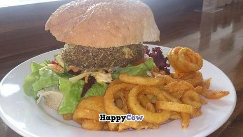 """Photo of CLOSED: Peace Pies  by <a href=""""/members/profile/vegan%20louise"""">vegan louise</a> <br/>Crumbed mushroom portobello burger <br/> August 17, 2013  - <a href='/contact/abuse/image/35843/53435'>Report</a>"""