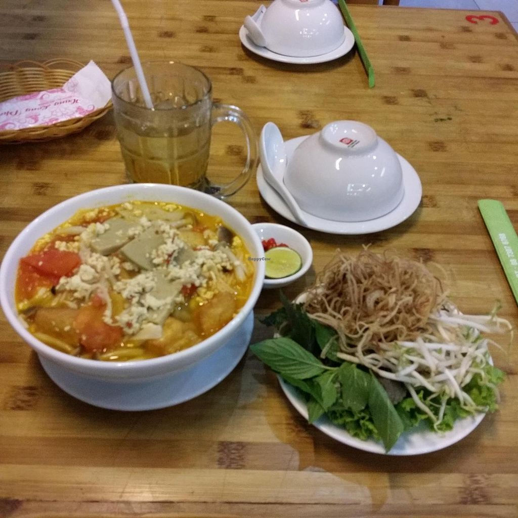 """Photo of Huong Sen Vegetarian - Bui Vien St  by <a href=""""/members/profile/Jeane"""">Jeane</a> <br/>Bun rieu with accompanying vegetables (40.000 vnd) <br/> May 11, 2014  - <a href='/contact/abuse/image/35854/69809'>Report</a>"""