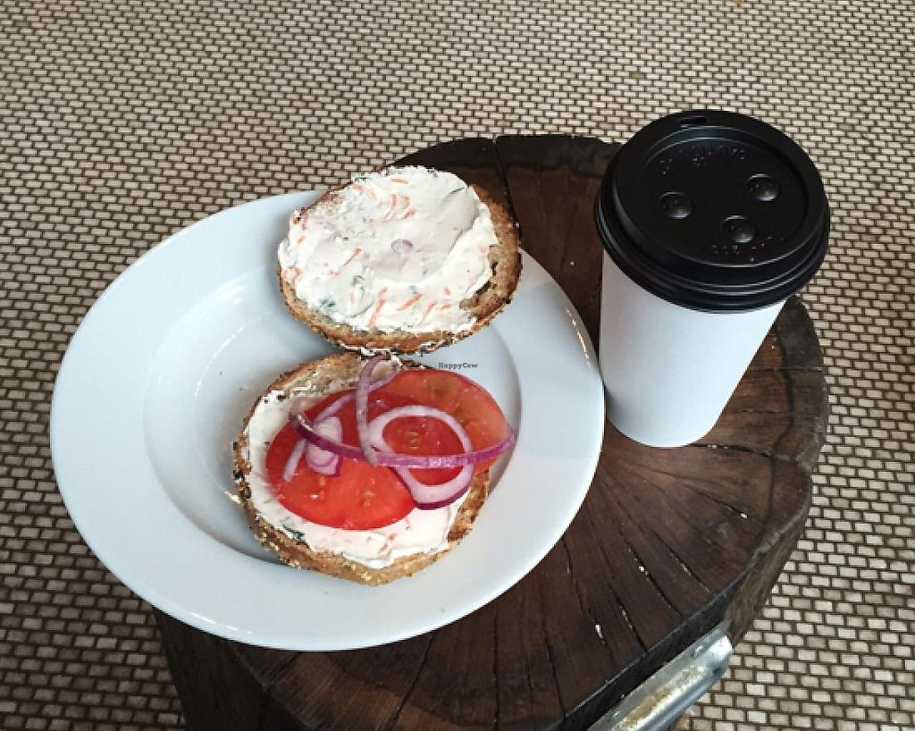 "Photo of Pavement Coffeehouse - Newbury  by <a href=""/members/profile/amykbauer"">amykbauer</a> <br/>multigrain everything with veggie tofu, tomato, red onion <br/> April 17, 2015  - <a href='/contact/abuse/image/35856/202543'>Report</a>"