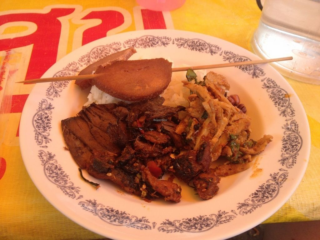 """Photo of Vegan Thai Food Stalls  by <a href=""""/members/profile/vegan_ryan"""">vegan_ryan</a> <br/>Mixed plate after self-service <br/> July 18, 2016  - <a href='/contact/abuse/image/35874/160609'>Report</a>"""
