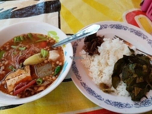 """Photo of Vegan Thai Food Stalls  by <a href=""""/members/profile/Lep10"""">Lep10</a> <br/>Tom yum soup with noodles and rice with mock meat  <br/> September 20, 2016  - <a href='/contact/abuse/image/35874/176964'>Report</a>"""