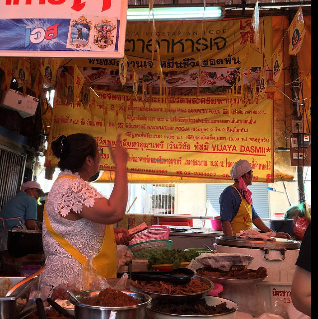 """Photo of Vegan Thai Food Stalls  by <a href=""""/members/profile/happycyclist"""">happycyclist</a> <br/>look for the big yellow sign <br/> February 1, 2017  - <a href='/contact/abuse/image/35874/220520'>Report</a>"""