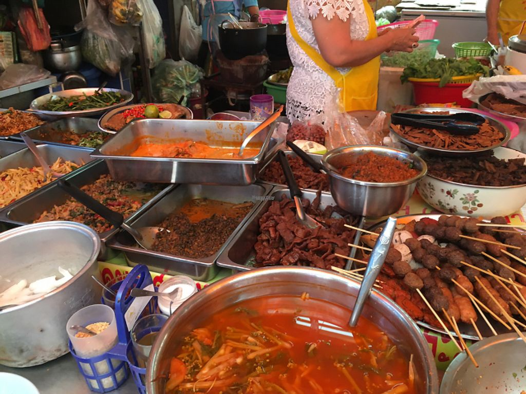 """Photo of Vegan Thai Food Stalls  by <a href=""""/members/profile/happycyclist"""">happycyclist</a> <br/>tons of vegan protein options <br/> February 1, 2017  - <a href='/contact/abuse/image/35874/220522'>Report</a>"""