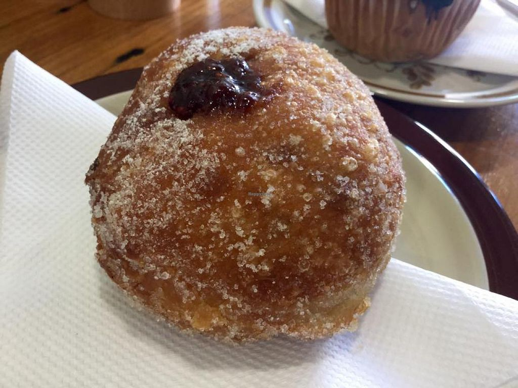 """Photo of Crumbs Organic Bakehouse  by <a href=""""/members/profile/Lea"""">Lea</a> <br/>Jam donut <br/> February 10, 2015  - <a href='/contact/abuse/image/35875/92766'>Report</a>"""