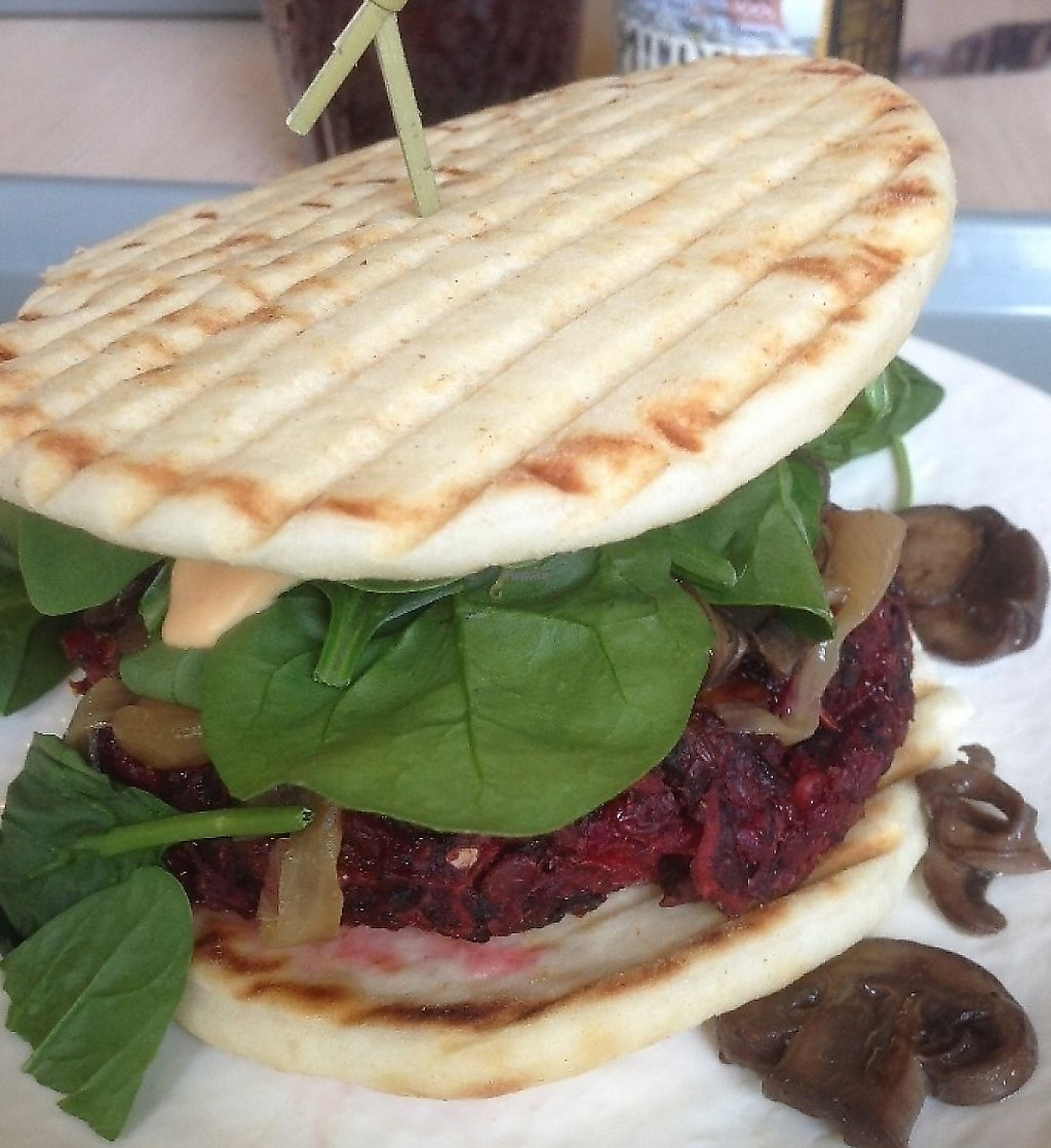 """Photo of Sunflower Cafe  by <a href=""""/members/profile/KWdaddio"""">KWdaddio</a> <br/>Beet Veggie Burger <br/> December 30, 2016  - <a href='/contact/abuse/image/35881/225885'>Report</a>"""