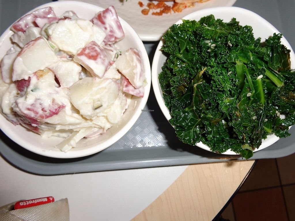 """Photo of Sunflower Cafe  by <a href=""""/members/profile/SarahBaker"""">SarahBaker</a> <br/>Potato salad and sesame kale <br/> May 28, 2017  - <a href='/contact/abuse/image/35881/263456'>Report</a>"""