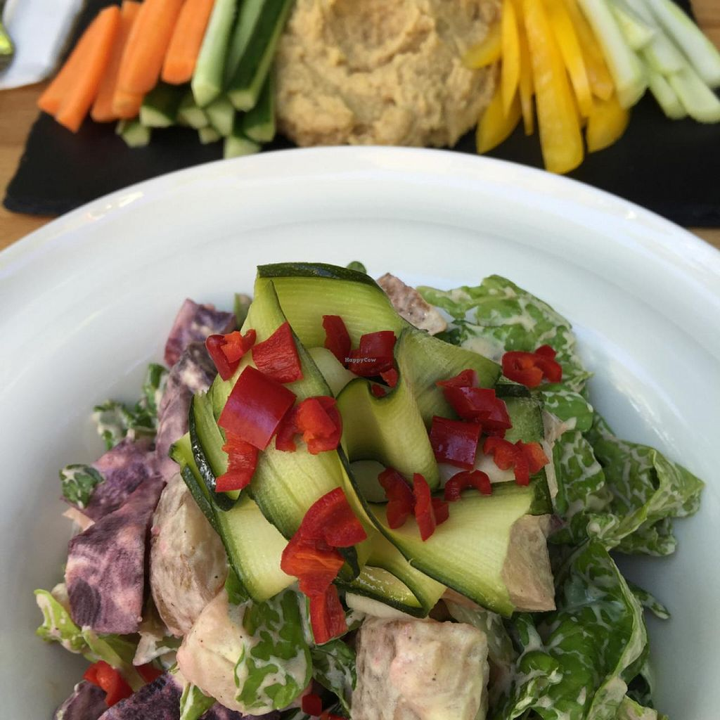 "Photo of VEG Deli  by <a href=""/members/profile/Connec"">Connec</a> <br/>beet root potato vegan majo salad and hummis starter <br/> May 7, 2015  - <a href='/contact/abuse/image/35882/101515'>Report</a>"