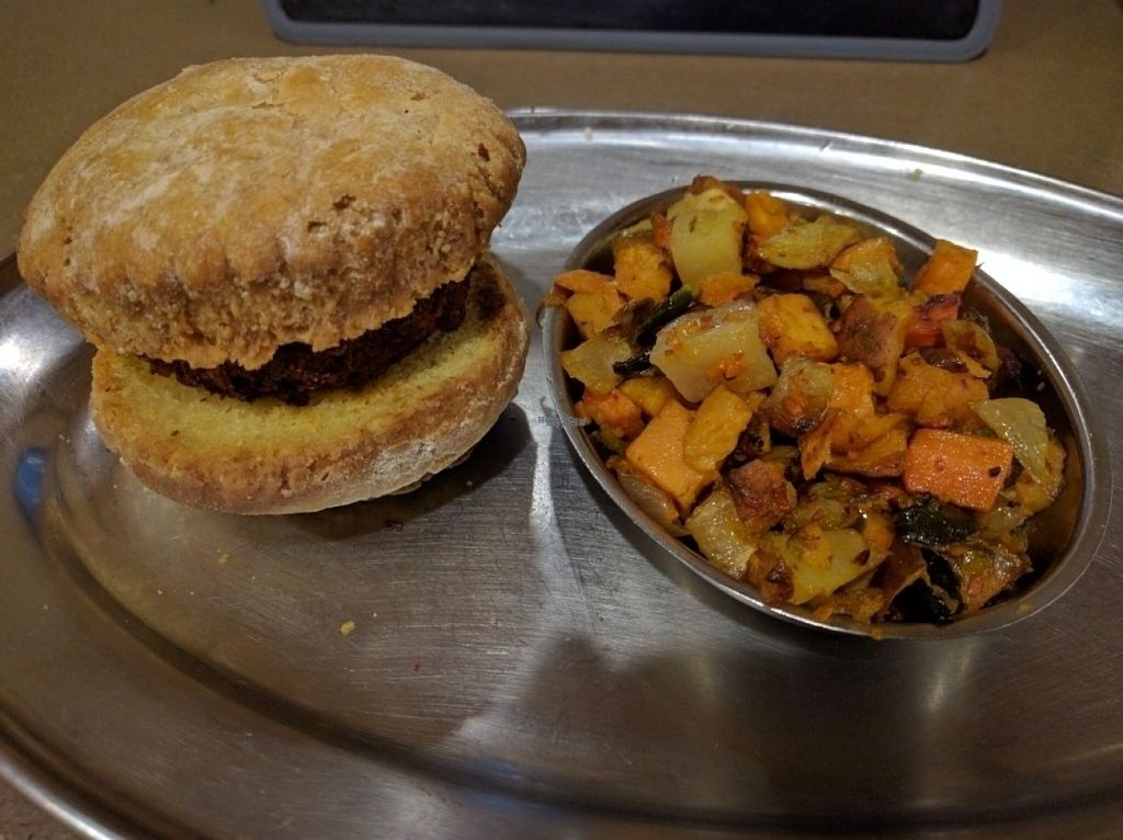 """Photo of Green Sage Cafe - South  by <a href=""""/members/profile/JohnGardner"""">JohnGardner</a> <br/>Soyrizo biscuit, root hash <br/> November 3, 2016  - <a href='/contact/abuse/image/35892/186455'>Report</a>"""