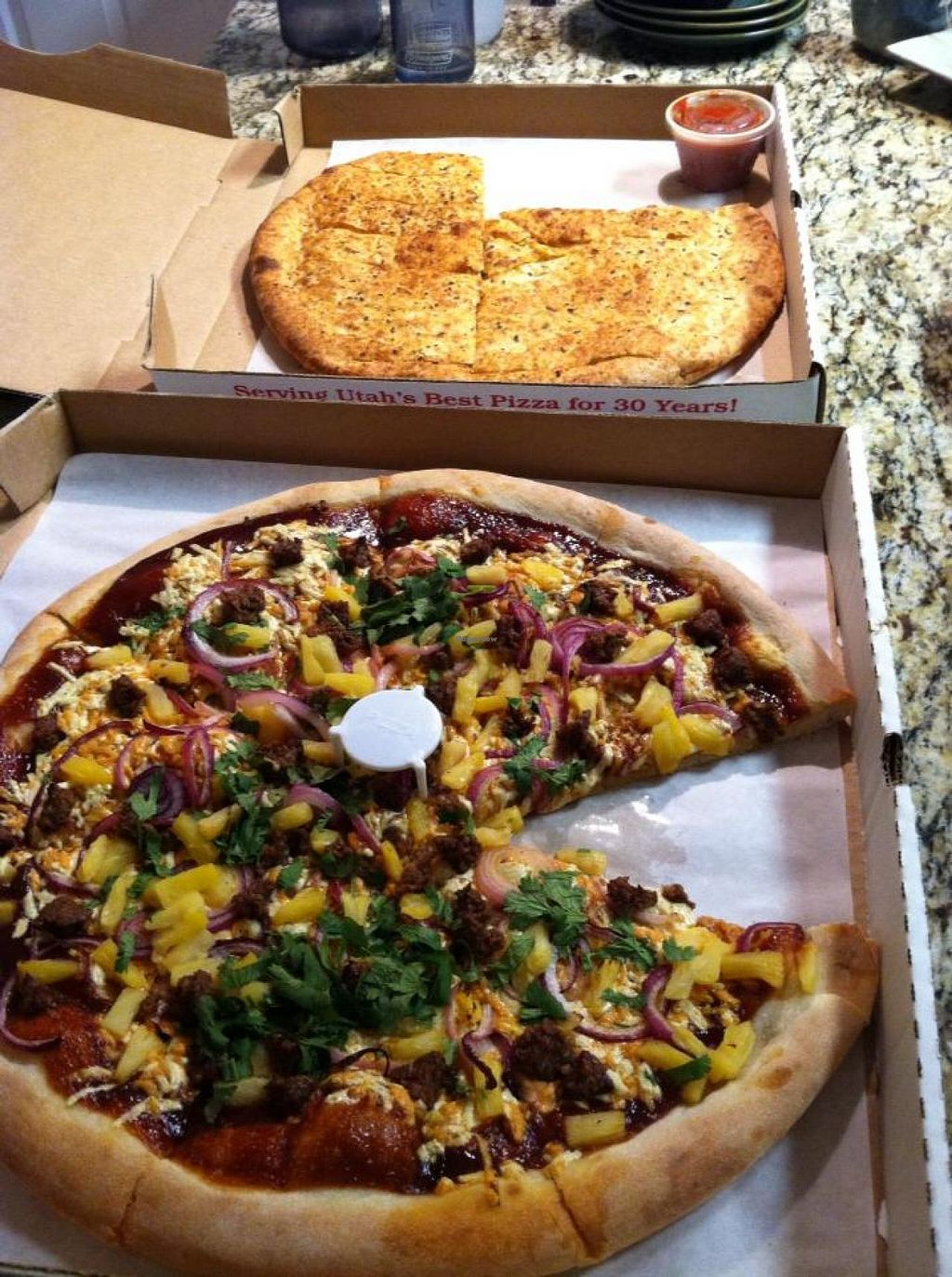 """Photo of The Pie  by <a href=""""/members/profile/Meggie%20and%20Ben"""">Meggie and Ben</a> <br/>Vegan BBQ pizza with 'beef' and vegan cheese sticks <br/> January 11, 2014  - <a href='/contact/abuse/image/35972/62304'>Report</a>"""