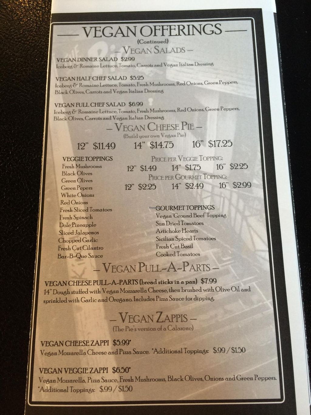 """Photo of The Pie  by <a href=""""/members/profile/Meggie%20and%20Ben"""">Meggie and Ben</a> <br/>Vegan menu <br/> September 27, 2014  - <a href='/contact/abuse/image/35972/81342'>Report</a>"""