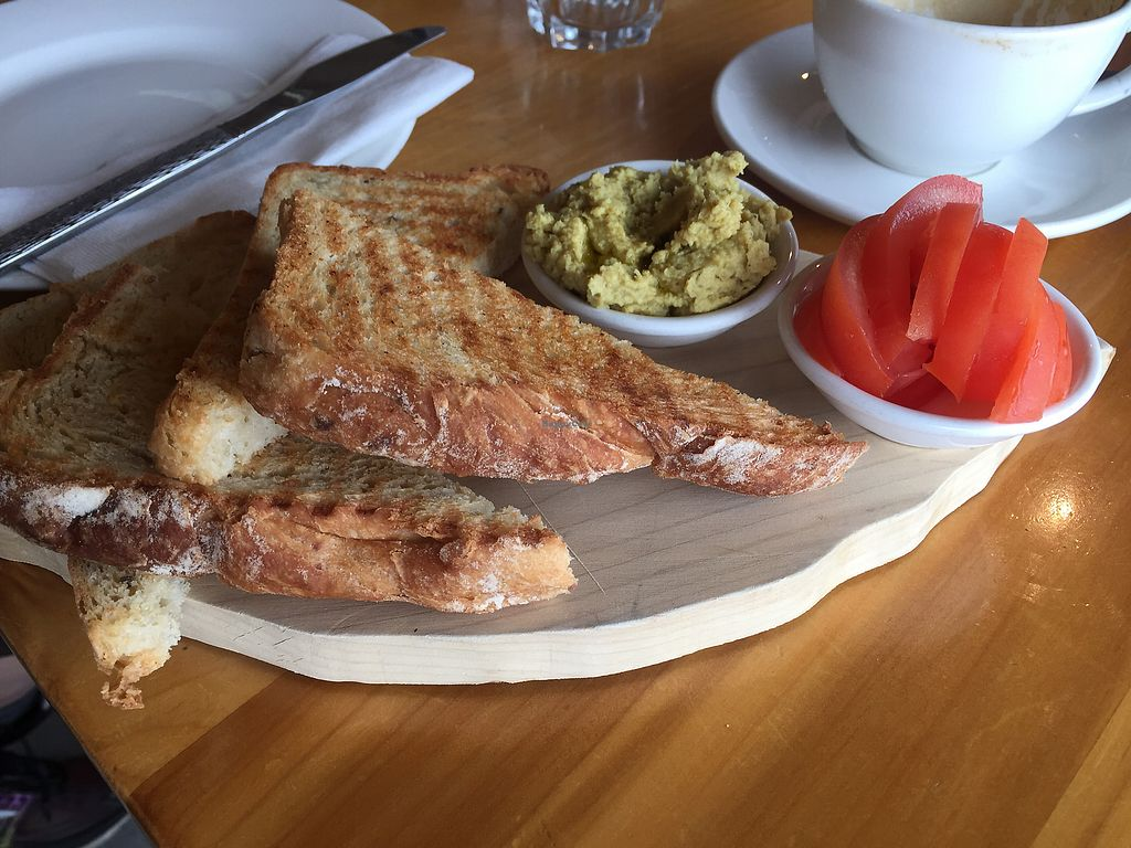 """Photo of Horopito Cafe  by <a href=""""/members/profile/Tiggy"""">Tiggy</a> <br/>Sourdough with horopito hummus and tomato $6.50 - Pretty good <br/> January 21, 2018  - <a href='/contact/abuse/image/35982/349230'>Report</a>"""