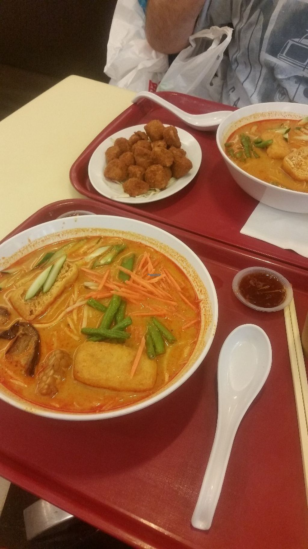 """Photo of Simple Life - KLCC  by <a href=""""/members/profile/Without_Cruelty_Blog"""">Without_Cruelty_Blog</a> <br/>Veggie Laksa and popcorn 'chicken' :)  <br/> November 13, 2016  - <a href='/contact/abuse/image/36004/189646'>Report</a>"""