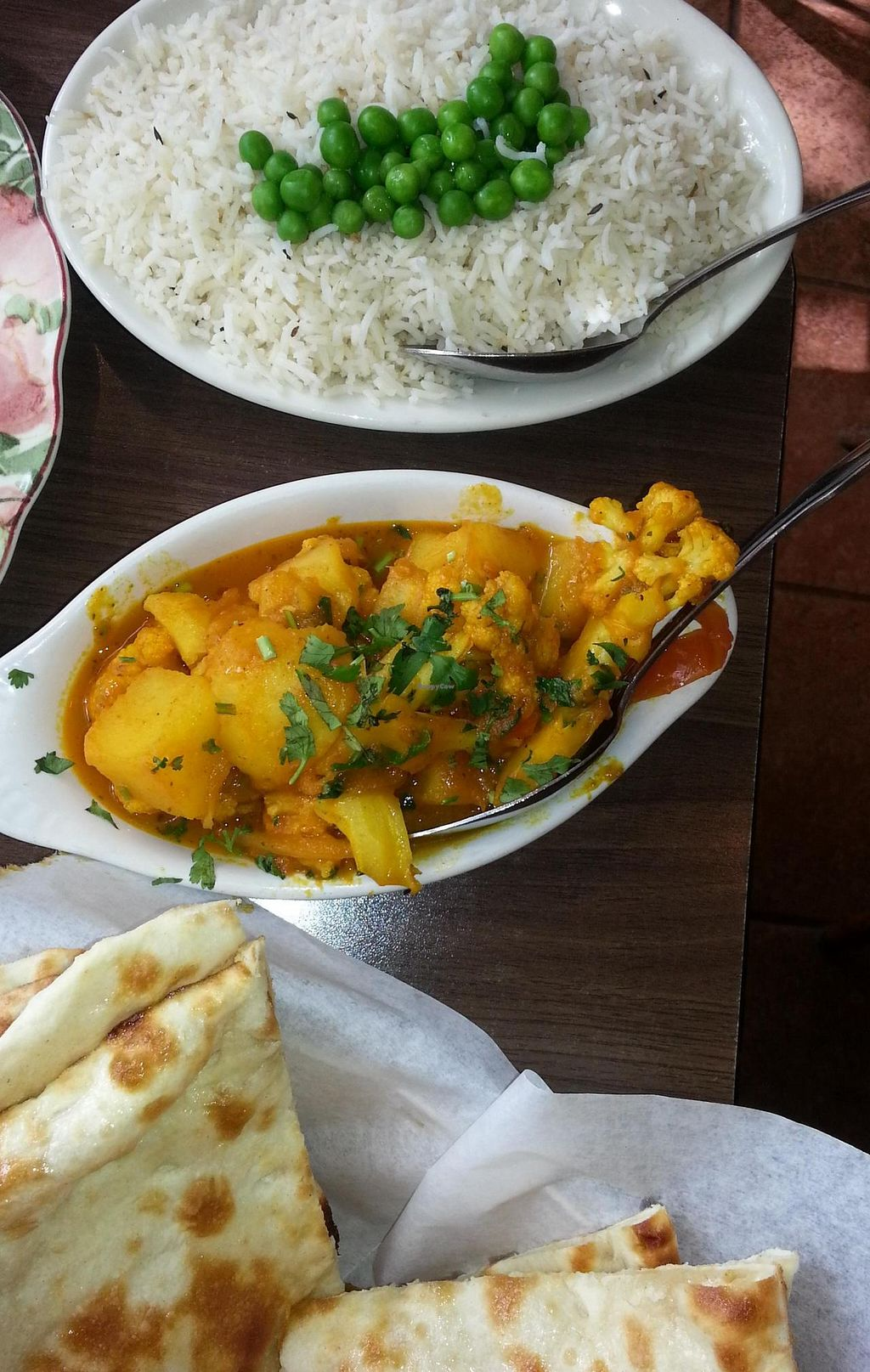 """Photo of Cafe Lotus  by <a href=""""/members/profile/LindaDunlapOliva"""">LindaDunlapOliva</a> <br/>Aloo Gobi, Naan and rice? (not sure if it has a special name) <br/> December 9, 2014  - <a href='/contact/abuse/image/36039/87573'>Report</a>"""