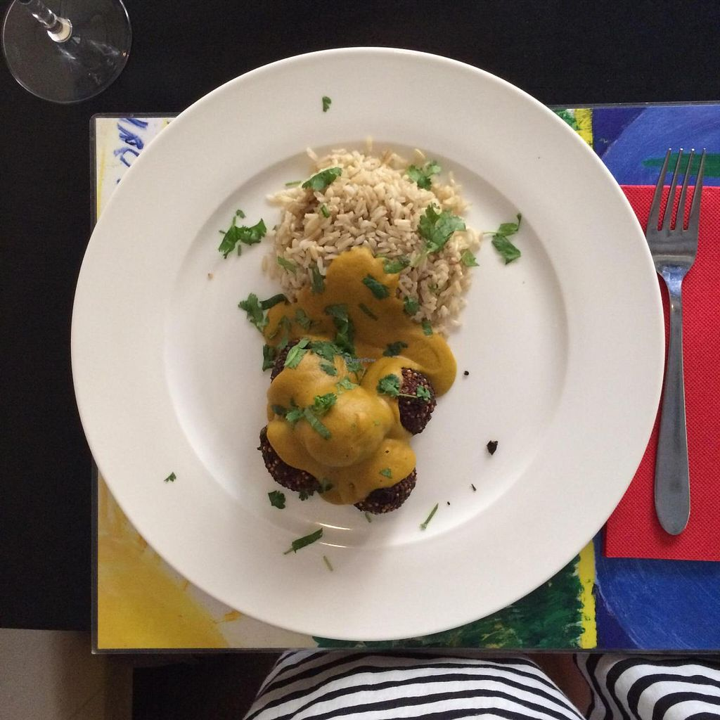 """Photo of Lady Green Bio-Vegetarian Restaurant  by <a href=""""/members/profile/Pinkoci"""">Pinkoci</a> <br/>spinach and quinoa balls with coconut curry and basmati <br/> July 3, 2015  - <a href='/contact/abuse/image/36048/108052'>Report</a>"""