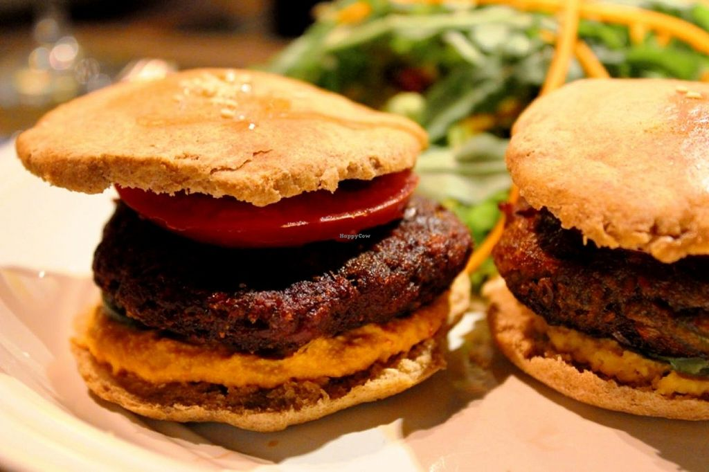 """Photo of Radost Fina Kuhinjica  by <a href=""""/members/profile/SueClesh"""">SueClesh</a> <br/>vegan burgers - beetroot (left) and mushroom (right) <br/> May 19, 2015  - <a href='/contact/abuse/image/36109/102714'>Report</a>"""