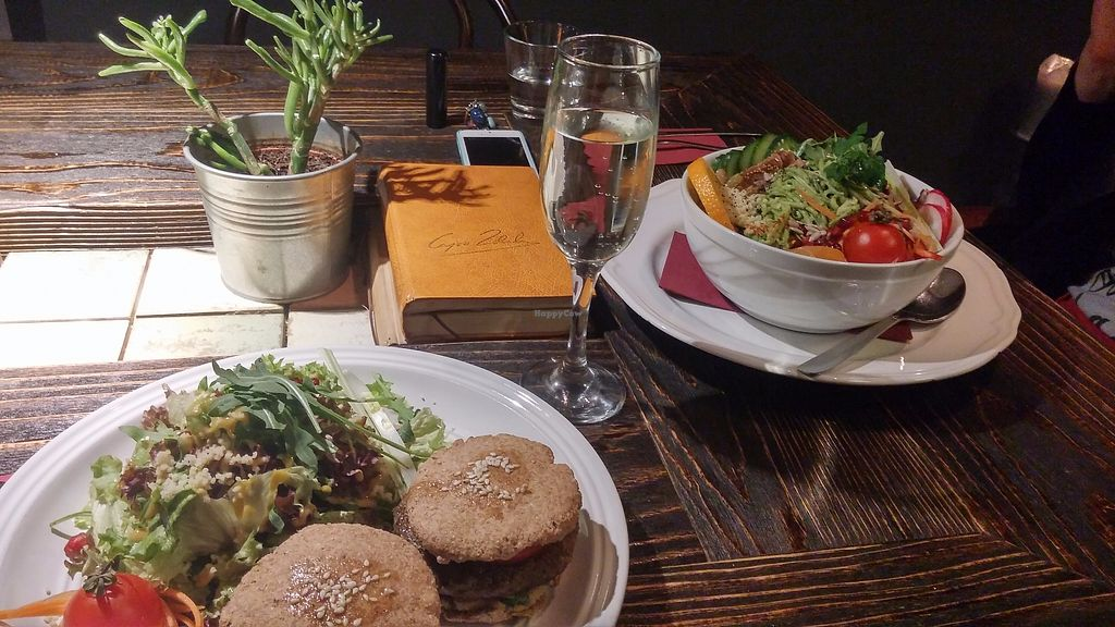 """Photo of Radost Fina Kuhinjica  by <a href=""""/members/profile/Lilijena"""">Lilijena</a> <br/>vegan burgers, salad and wine <br/> September 6, 2017  - <a href='/contact/abuse/image/36109/301493'>Report</a>"""