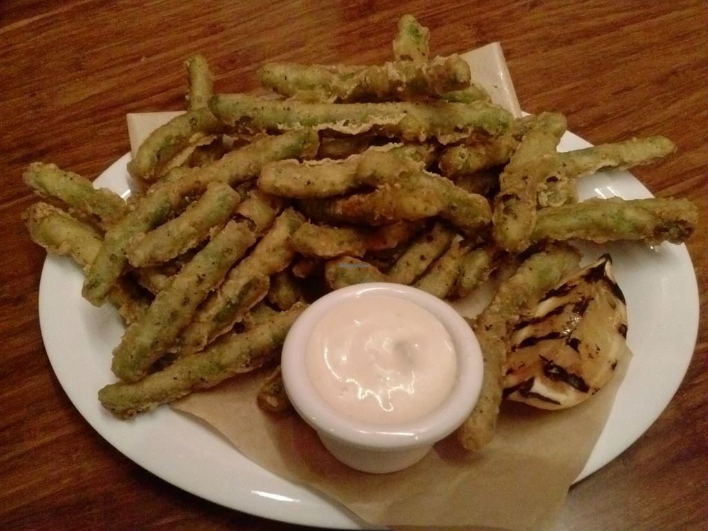 """Photo of Veggie Grill - Westwood  by <a href=""""/members/profile/Sonja%20and%20Dirk"""">Sonja and Dirk</a> <br/>tempura green bean stack <br/> November 18, 2015  - <a href='/contact/abuse/image/36125/125379'>Report</a>"""