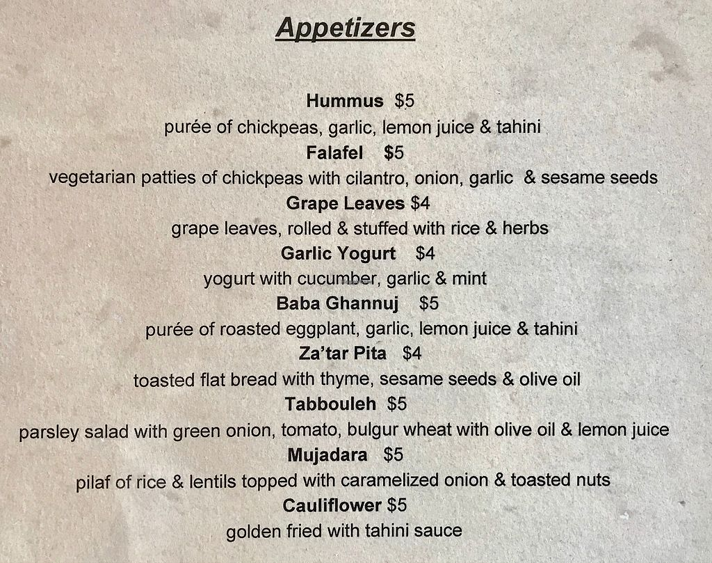 """Photo of Zayna Mediterranean  by <a href=""""/members/profile/OldPuebloVegan"""">OldPuebloVegan</a> <br/>Appetizers Menu (as of 3/16/2018) Note: All items are vegetarian, Most are vegan. (Notify your server that you are ordering vegan) <br/> March 16, 2018  - <a href='/contact/abuse/image/36129/371531'>Report</a>"""