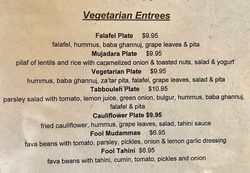 """Photo of Zayna Mediterranean  by <a href=""""/members/profile/OldPuebloVegan"""">OldPuebloVegan</a> <br/>Vegetarian Entrees (as of 3/16/2018) To make Vegan order without Tahini or Yogurt. Notify your server that you are ordering vegan <br/> March 16, 2018  - <a href='/contact/abuse/image/36129/371536'>Report</a>"""