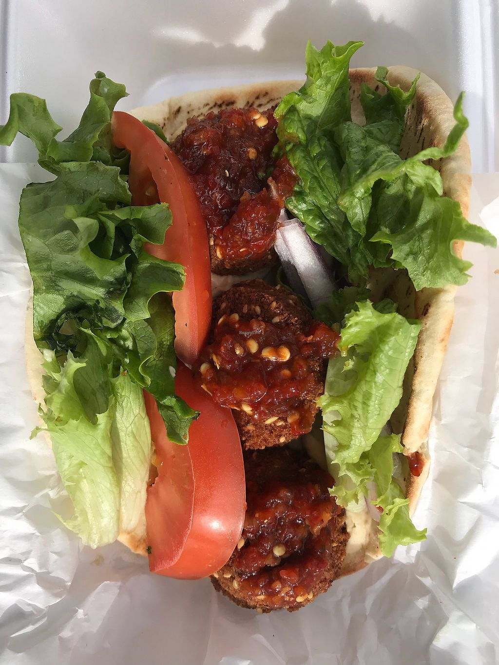 """Photo of Zayna Mediterranean  by <a href=""""/members/profile/OldPuebloVegan"""">OldPuebloVegan</a> <br/>I like spicy, so I add lots of their wonderful Shat-tah (Red Chili) Sauce on top <br/> March 16, 2018  - <a href='/contact/abuse/image/36129/371539'>Report</a>"""