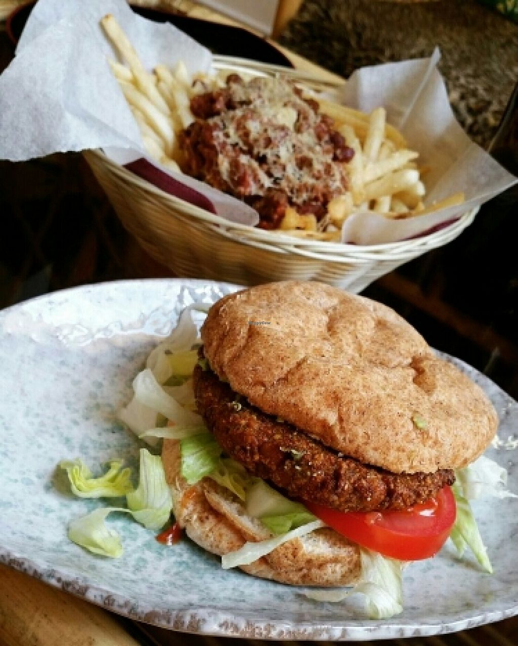 """Photo of Two-Bit Villains  by <a href=""""/members/profile/JanineBarthel"""">JanineBarthel</a> <br/>vegan burger and chili cheese fries <br/> March 3, 2016  - <a href='/contact/abuse/image/36150/138584'>Report</a>"""