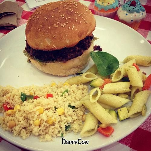 """Photo of CLOSED: Lurve  by <a href=""""/members/profile/theveganstudent"""">theveganstudent</a> <br/>Mushroom & coriander burger on a sesame seed bap with couscous & pasta salad <br/> March 21, 2013  - <a href='/contact/abuse/image/36234/45864'>Report</a>"""