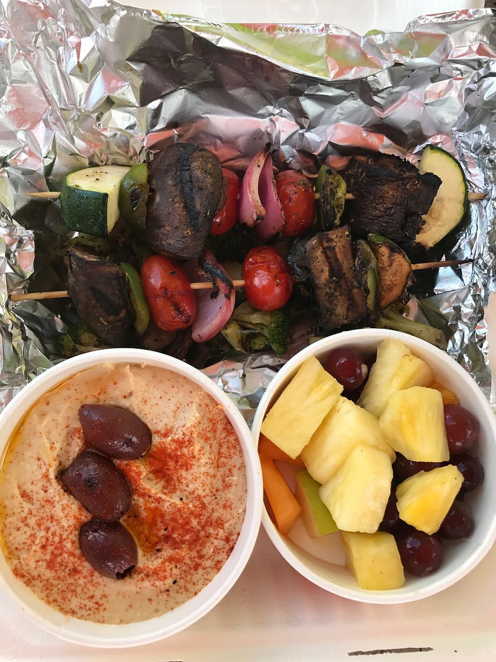 """Photo of Zoe's Kitchen  by <a href=""""/members/profile/melissapedroso"""">melissapedroso</a> <br/>Veggie kabobs humus and fruit <br/> July 12, 2017  - <a href='/contact/abuse/image/36235/279638'>Report</a>"""