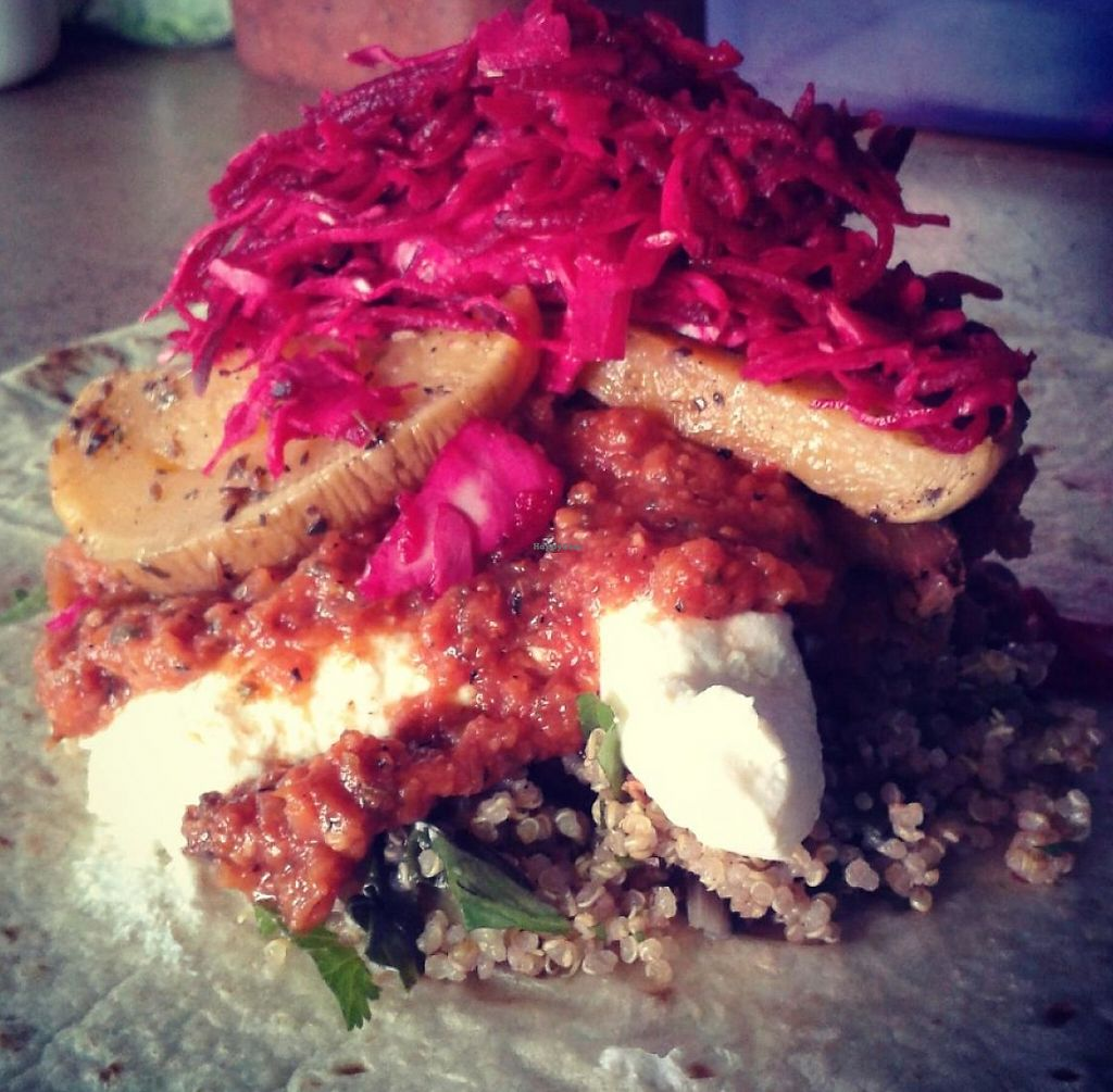 """Photo of Pacha Mama - Food Stall  by <a href=""""/members/profile/PachaMama"""">PachaMama</a> <br/>Summer Veggie Burrito with Chilli beans, Roasted veg, Quinoa, Organic sheeps curd, Salsa, Pickled cabbage and beetroot  <br/> January 28, 2014  - <a href='/contact/abuse/image/36294/255703'>Report</a>"""