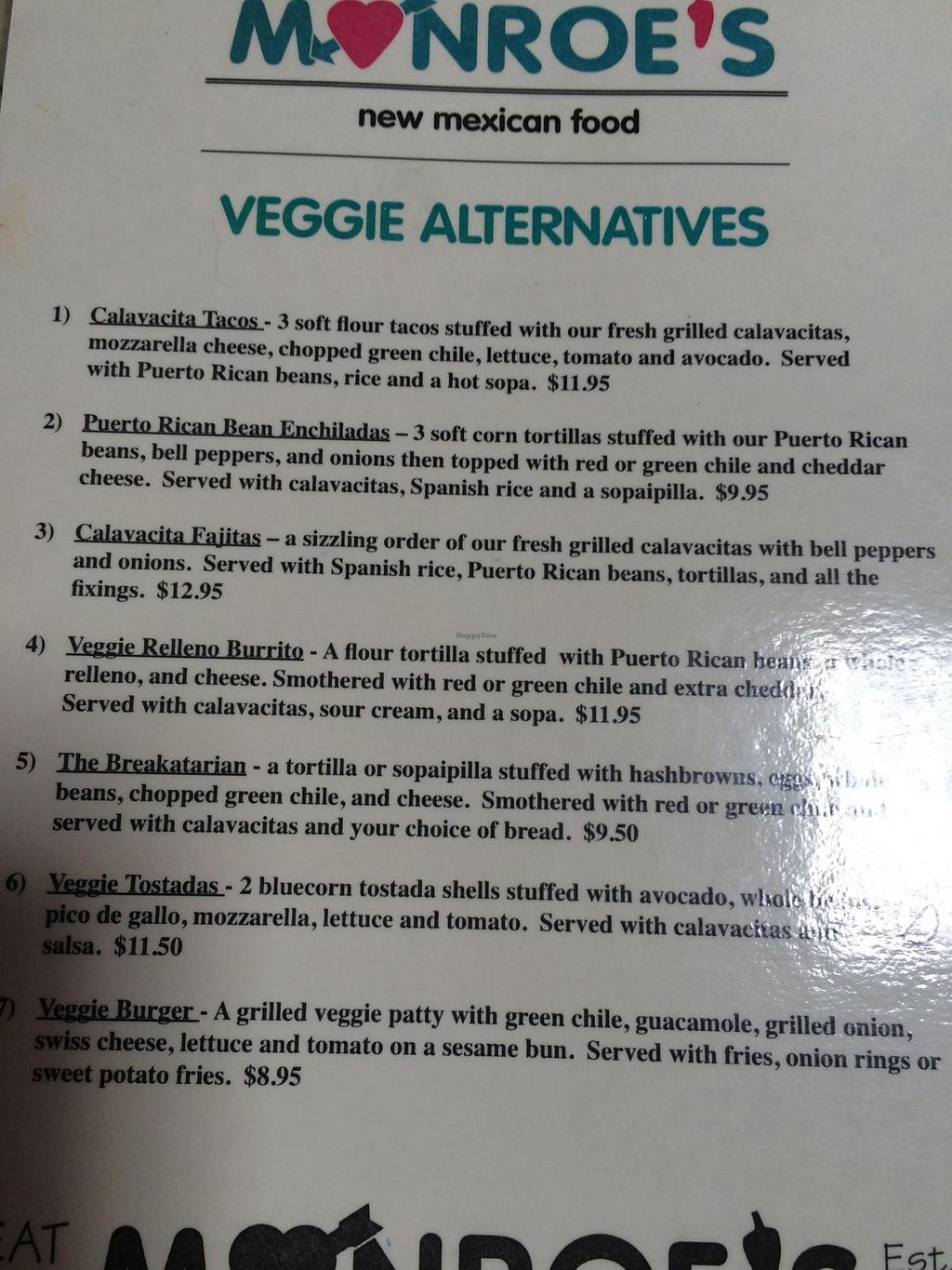 "Photo of Monroe's New Mexican  by <a href=""/members/profile/ASomerville"">ASomerville</a> <br/>The vegetarian menu <br/> June 16, 2015  - <a href='/contact/abuse/image/36307/106094'>Report</a>"
