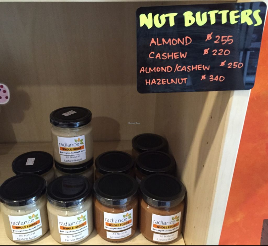 "Photo of Radiance Wholefoods  by <a href=""/members/profile/Jrosworld"">Jrosworld</a> <br/>Nut butters <br/> November 20, 2015  - <a href='/contact/abuse/image/36318/125588'>Report</a>"