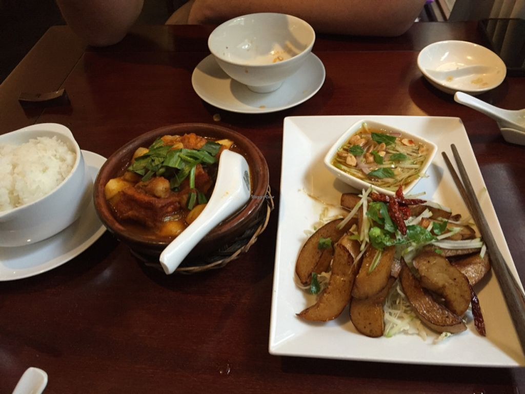 """Photo of Hum Vegetarian - District 3  by <a href=""""/members/profile/Bhannah"""">Bhannah</a> <br/>potato dish and oyster mushrooms with apple sauce  <br/> June 26, 2016  - <a href='/contact/abuse/image/36320/156117'>Report</a>"""