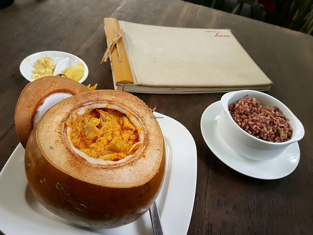 """Photo of Hum Vegetarian - District 3  by <a href=""""/members/profile/PeterRichards"""">PeterRichards</a> <br/>mushroom curry in coconut <br/> September 23, 2017  - <a href='/contact/abuse/image/36320/307495'>Report</a>"""