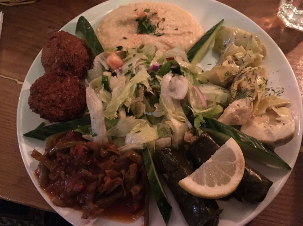 "Photo of Empires Cafe  by <a href=""/members/profile/NicolaJMS"">NicolaJMS</a> <br/>vegan mezze - falafel, hummus, artichokes, dolmades, green beans <br/> August 13, 2016  - <a href='/contact/abuse/image/36350/168132'>Report</a>"