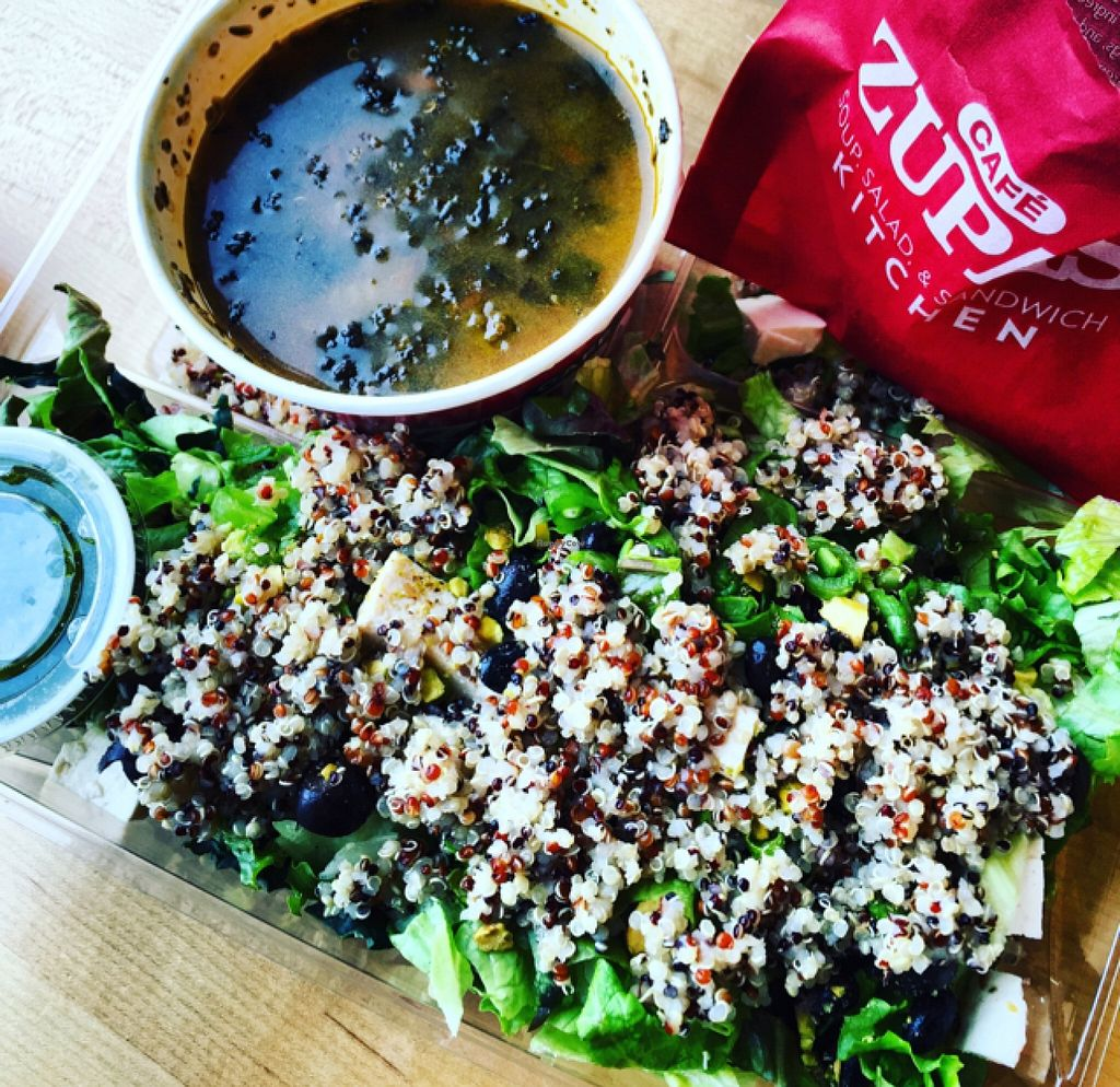 """Photo of Cafe Zupas  by <a href=""""/members/profile/Veganpatty"""">Veganpatty</a> <br/>Quinoa salad from salad bar and veggie soup.  <br/> December 18, 2015  - <a href='/contact/abuse/image/36381/128914'>Report</a>"""
