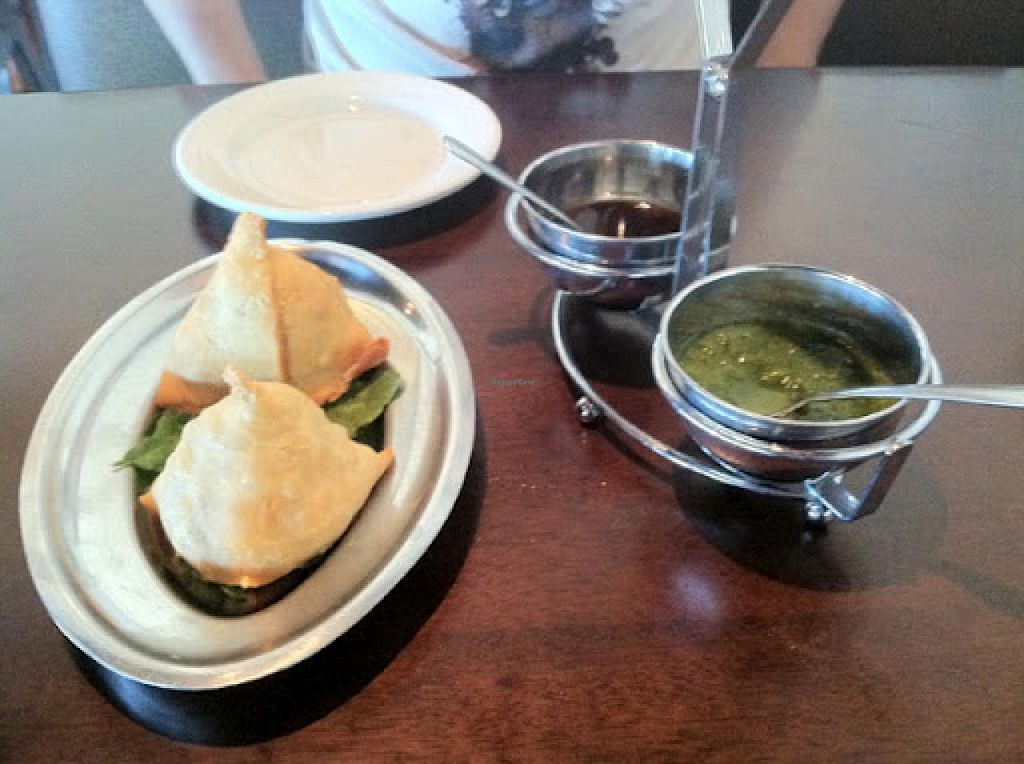 """Photo of India House  by <a href=""""/members/profile/Meggie%20and%20Ben"""">Meggie and Ben</a> <br/>Samosas and chutneys <br/> January 4, 2015  - <a href='/contact/abuse/image/36401/89477'>Report</a>"""