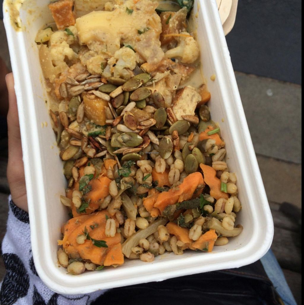 """Photo of The Alpha Bar  by <a href=""""/members/profile/daria.anappleaday"""">daria.anappleaday</a> <br/>Veggie Korma with barley and vegetables, vegan <br/> July 17, 2015  - <a href='/contact/abuse/image/3640/109628'>Report</a>"""