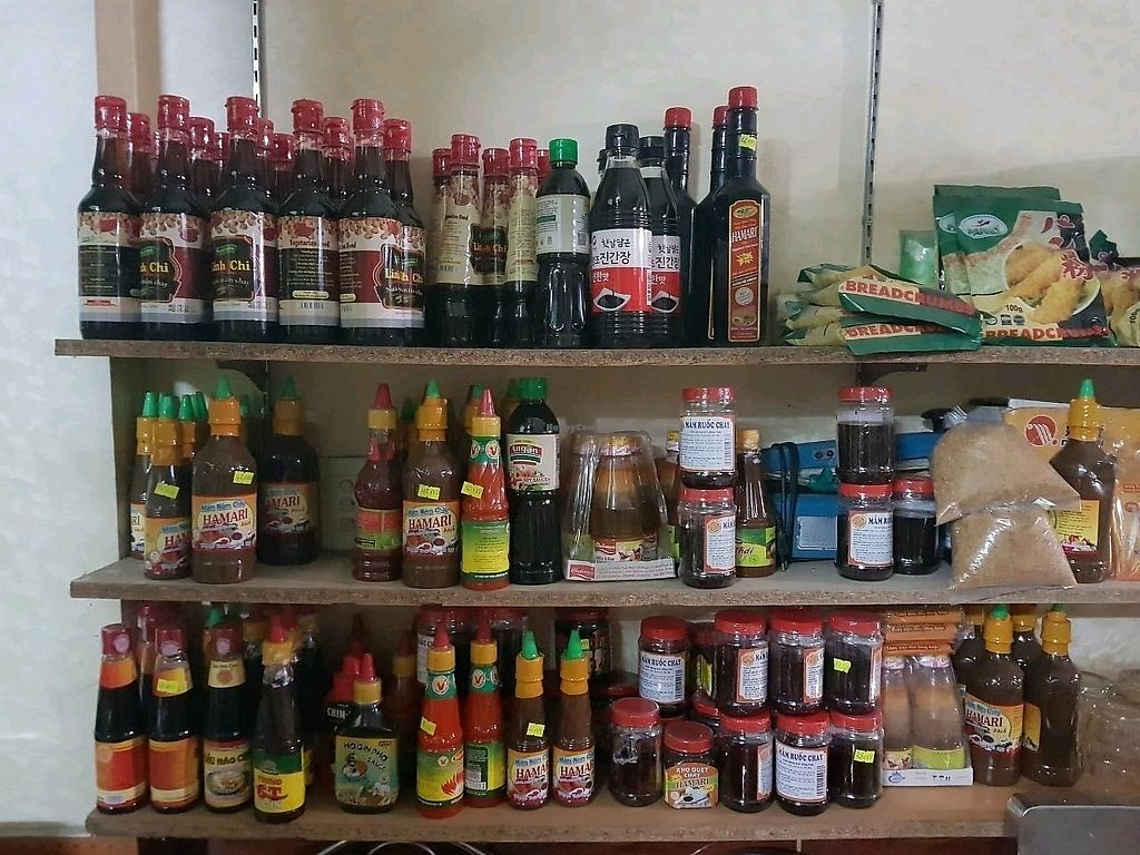 """Photo of Loving Hut - Bien Tinh Thuong  by <a href=""""/members/profile/EnricoVegan"""">EnricoVegan</a> <br/>huge variety of vegan sauces <br/> December 21, 2017  - <a href='/contact/abuse/image/36503/337689'>Report</a>"""