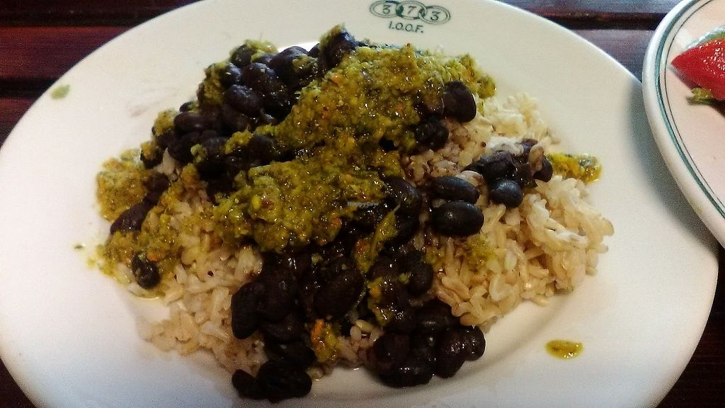 """Photo of Outdated - An Antique Cafe  by <a href=""""/members/profile/foodfirst"""">foodfirst</a> <br/>rice and beans, a vegan side dish from the cafe menu, July 2017 <br/> July 28, 2017  - <a href='/contact/abuse/image/36514/285708'>Report</a>"""