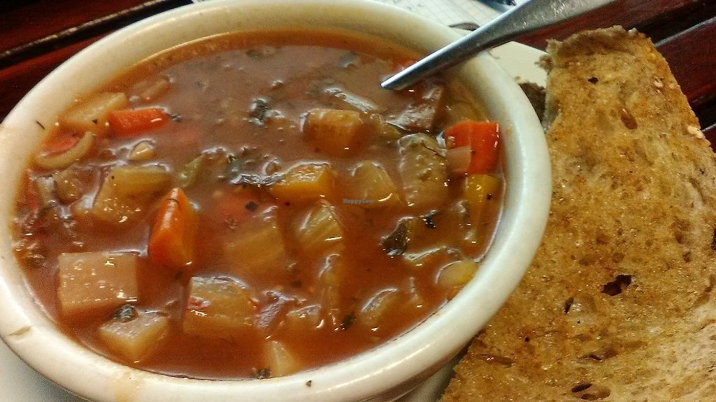 """Photo of Outdated - An Antique Cafe  by <a href=""""/members/profile/foodfirst"""">foodfirst</a> <br/>Vegan soup special purchased from Kingston's artisanal Outdated cafe 9-17-2017. Bread that came with the item also shown to right.  <br/> September 17, 2017  - <a href='/contact/abuse/image/36514/305422'>Report</a>"""