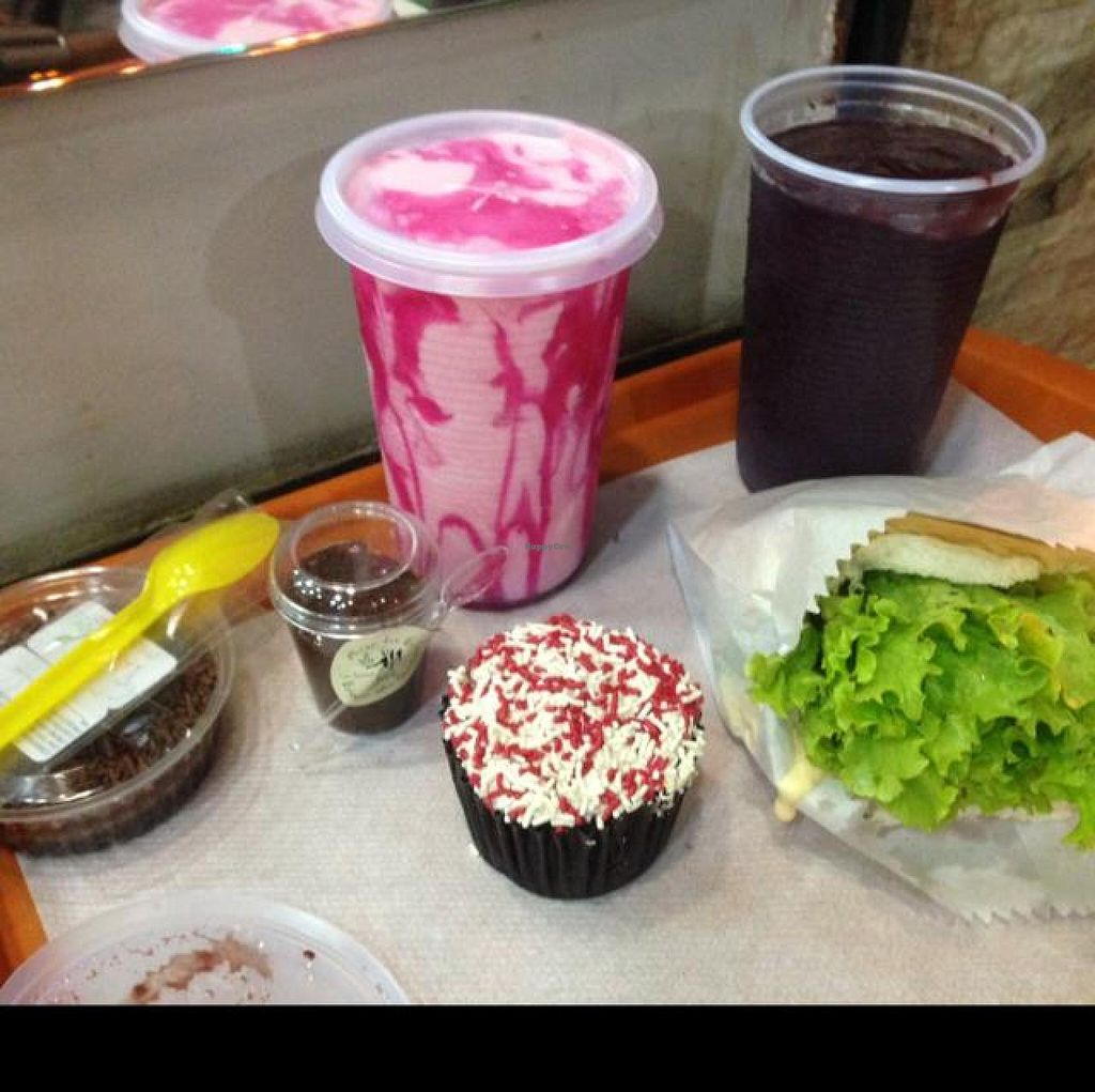 """Photo of Prime Dog - Vila Mariana  by <a href=""""/members/profile/Paolla"""">Paolla</a> <br/>Negresco pie, brigadeiro, mulberry cupcake, strawberry milkshake, acai juice and 'cheff's burger' <br/> August 23, 2014  - <a href='/contact/abuse/image/36515/78038'>Report</a>"""
