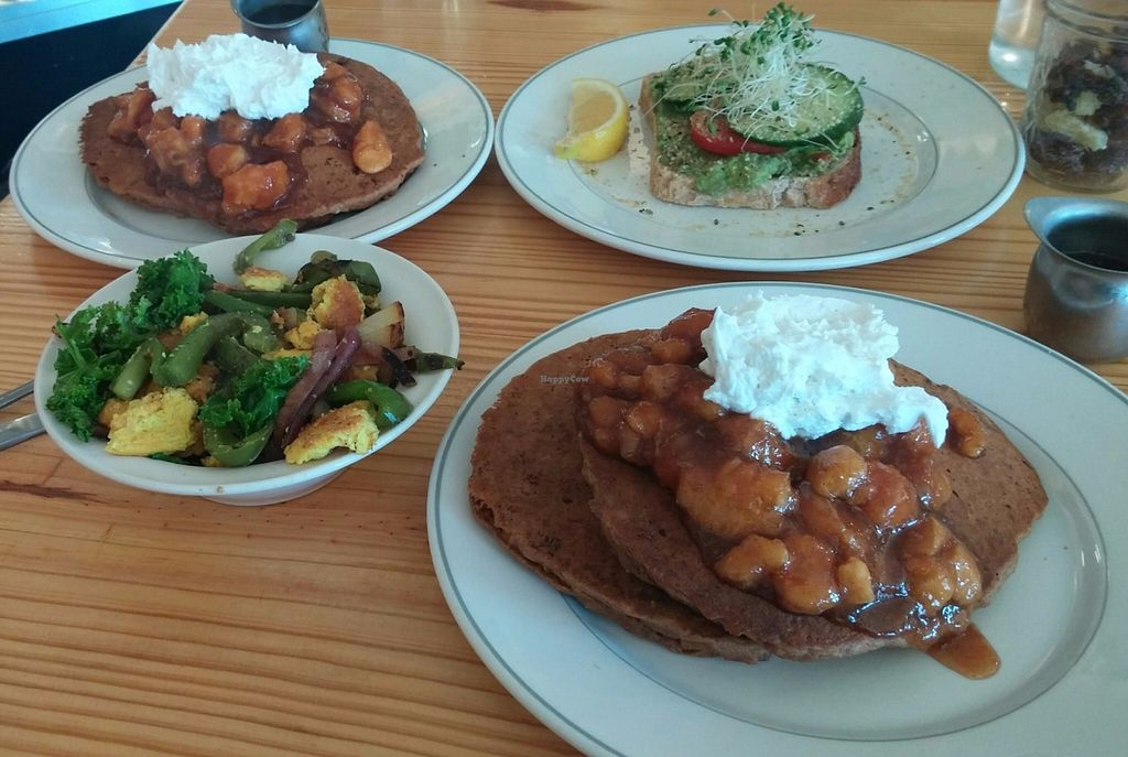 """Photo of Cleveland Vegan  by <a href=""""/members/profile/jnahra"""">jnahra</a> <br/>pancakes, avocado toast smash, tofu scramble <br/> June 16, 2016  - <a href='/contact/abuse/image/36549/154143'>Report</a>"""