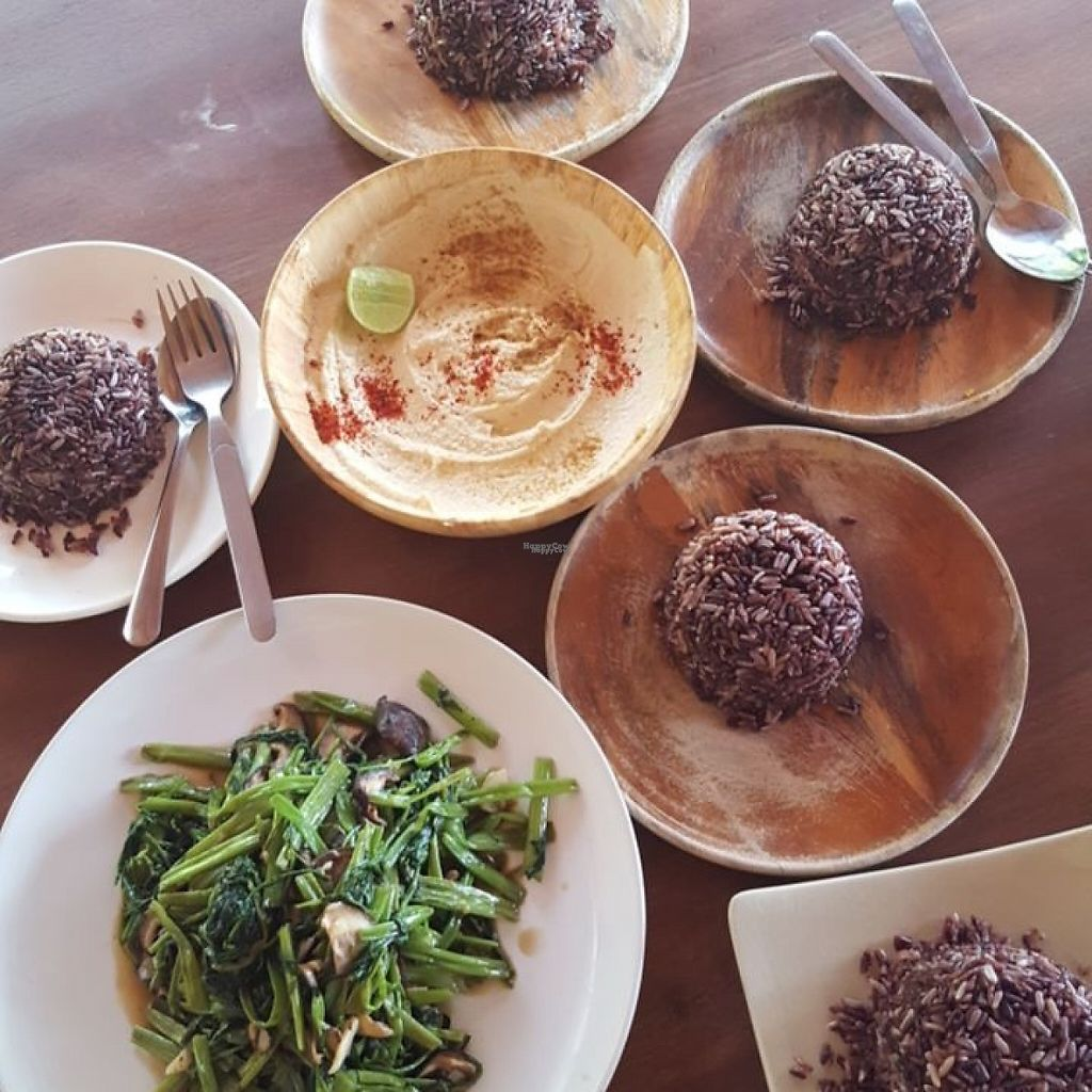 """Photo of Orion Cafe  by <a href=""""/members/profile/ThatVeganCouple"""">ThatVeganCouple</a> <br/>Hummus (without oil), morning glory and mushroom dish, brown rice <br/> January 8, 2017  - <a href='/contact/abuse/image/36552/209598'>Report</a>"""