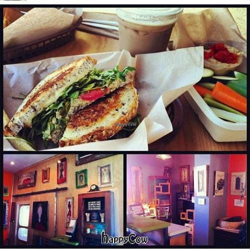 """Photo of Mead's Green Door Cafe  by <a href=""""/members/profile/Hippiecatlady"""">Hippiecatlady</a> <br/>non vegan Gouda and artichoke sandwich, dirty chai, and veggies with hummus <br/> February 5, 2013  - <a href='/contact/abuse/image/36604/43841'>Report</a>"""