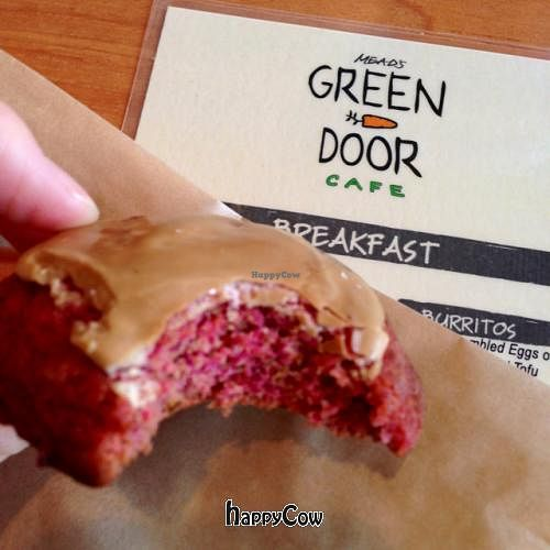 """Photo of Mead's Green Door Cafe  by <a href=""""/members/profile/Hippiecatlady"""">Hippiecatlady</a> <br/>vegan red velvet cookie with espresso frosting! yum! <br/> February 5, 2013  - <a href='/contact/abuse/image/36604/43863'>Report</a>"""