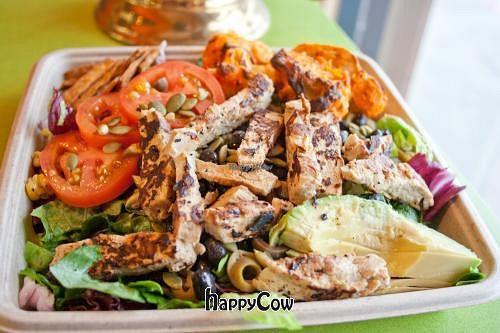 """Photo of Mead's Green Door Cafe  by <a href=""""/members/profile/spiceislandvegan"""">spiceislandvegan</a> <br/>Taco Salad with soy chicken and roasted buffalo cauliflower <br/> February 17, 2013  - <a href='/contact/abuse/image/36604/44317'>Report</a>"""