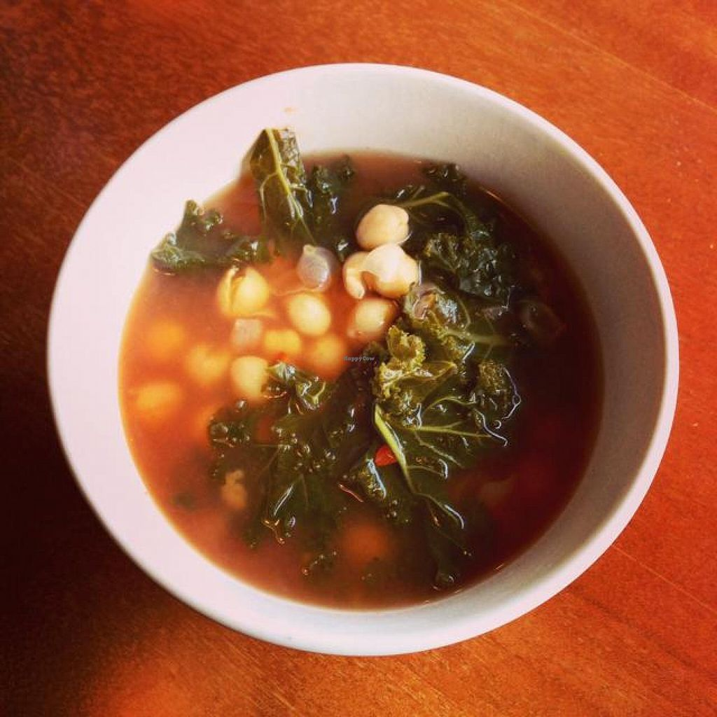 """Photo of Mead's Green Door Cafe  by <a href=""""/members/profile/Hippiecatlady"""">Hippiecatlady</a> <br/>Garbanzo and kale soup! <br/> April 25, 2014  - <a href='/contact/abuse/image/36604/68549'>Report</a>"""