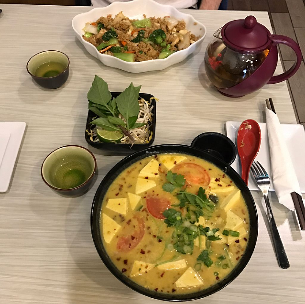 "Photo of Taste of Saigon  by <a href=""/members/profile/ByronSobe"">ByronSobe</a> <br/>vegan fried rice and #82 soup.  <br/> May 25, 2017  - <a href='/contact/abuse/image/36667/262435'>Report</a>"