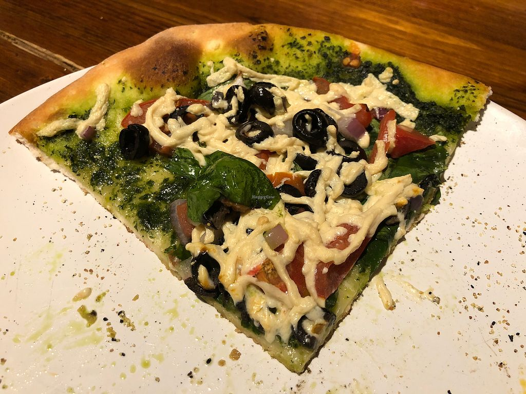 """Photo of Bella Noella's  by <a href=""""/members/profile/gwild"""">gwild</a> <br/>Vegan Greek one slice of personal pizza <br/> November 26, 2017  - <a href='/contact/abuse/image/36668/329215'>Report</a>"""