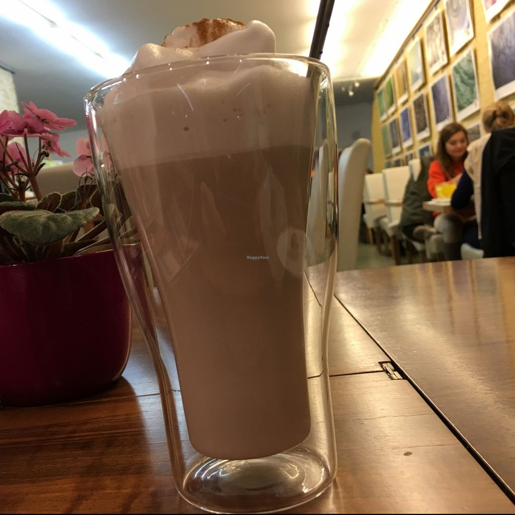 """Photo of Vegelateria  by <a href=""""/members/profile/marky_mark"""">marky_mark</a> <br/>Chai latte; 'food crystal' art photos on the wall <br/> November 4, 2015  - <a href='/contact/abuse/image/36683/123861'>Report</a>"""